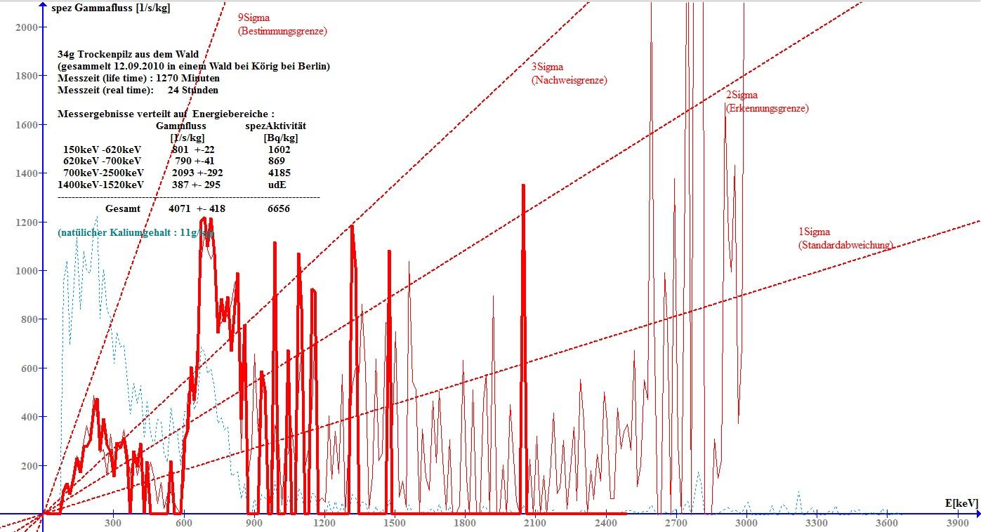 Gamma-Spektrum von 34g getrocknetem Waldpilz aus deutschem Wald