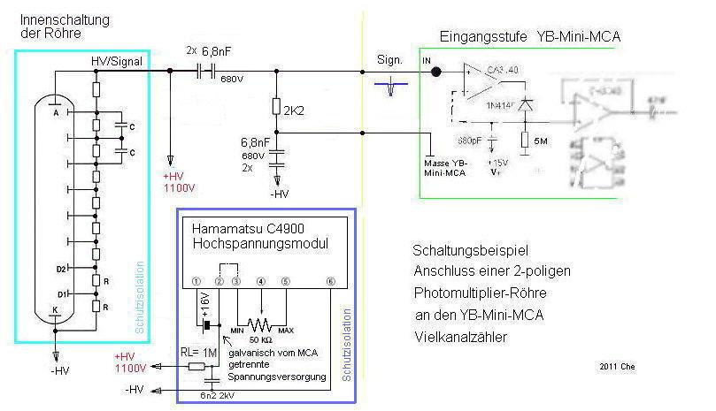 Beispielschaltung NaI-Detektor wird an den YB-MINI-MCA Vielkanalzähler angeschlossen