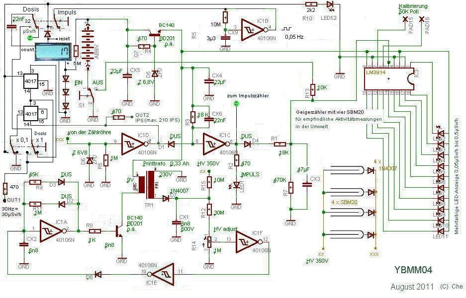Grundschaltung YBMM04, Strahlenmessgerät (Geigerzähler) für empfindliche Aktivitätsmessungen in der Umwelt