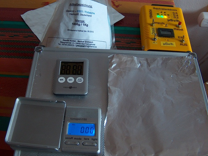 YB-Mini-Monitor Test der Empfindlichkeit mit 2,5 Gramm Pottasche