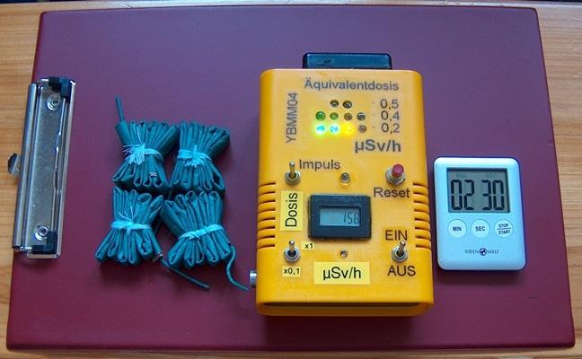 Sylvester Raketen, Knallfrösche , Böller sind radioaktiv, Strahlenmessung mit dem YB-Mini-Monitor